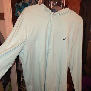 Nautica sea foam blue ligh weight teeshirt hoodie